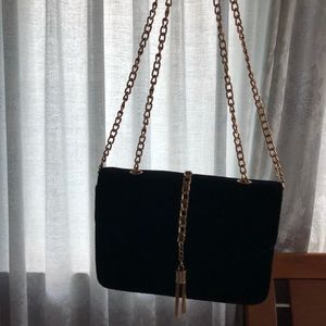 Black And Gold Velvet Tassle Bag
